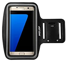 "MELOP Armband (5.7"") for Samsung Galaxy S7 edge, S7 S6 Active Edge and Plus, On5 On8 J7, LG V10 V20 K10 G5 SE, Soft Sweat Resistant Sports Gym Arm Band with Key Holder and Card / Cash Pocket - Black"
