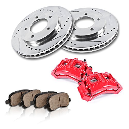 FRONT Powder Coated Red [2] Calipers + [2] Rotors + Quiet Low Dust [4] Ceramic Pads Performance -