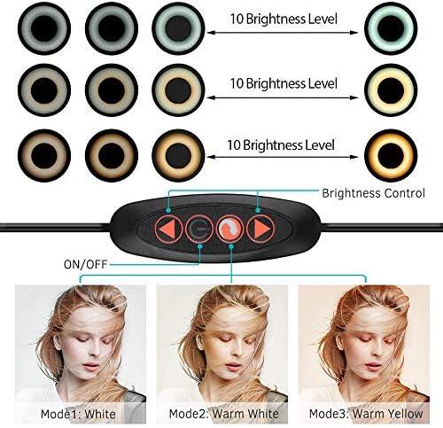 LEDリングライト リングライトLEDメイクアップリングランプUSBポータブル自分撮りリングランプ電話ホルダー三脚写真の照明三脚は18センチメートル長さをスタンド 自撮り写真/美容化粧/カメラ撮影 (Color : White, Size : 12cm)