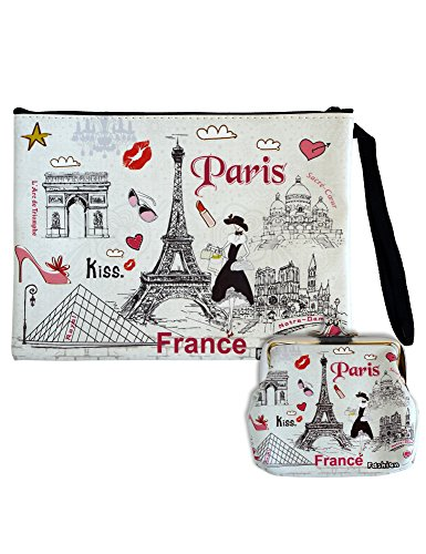 Digital Print Faux Leather Wallet Cosmetic Pouch and Coin Purse - 2pcs set - :Paris France