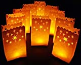 White Luminary Bags - 20 Count - Stars Design - Wedding, Reception, Party and Event Decor - Flame Resistant Paper - Luminaria by Since (Stars)