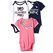NFL Seattle Seahawks Girls Short Sleeve Bodysuit (3 Pack), 3-6 Months, Pink