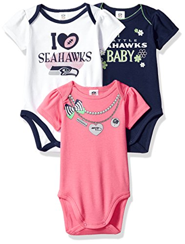 NFL Seattle Seahawks Girls Short Sleeve Bodysuit (3 Pack), 0-3 Months, (Pink Seahawks)