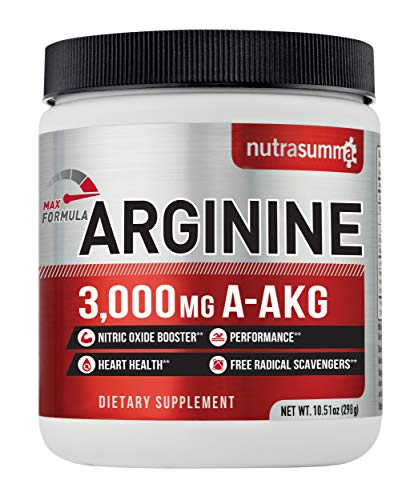 Nutrasumma Arginine 298g -Nitic Oxide Booster, Fitness Performance, Energy, Immune Support – Cardiovascular System Vitality – Dietary Supplement for Men and Women