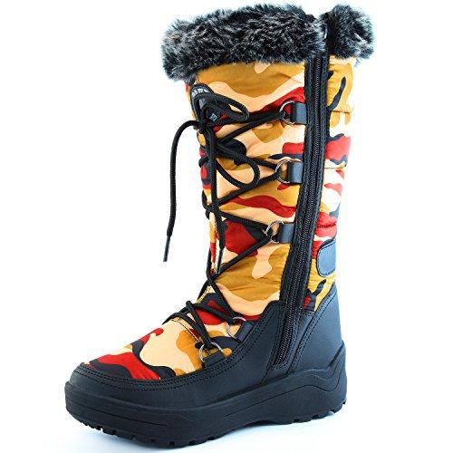 DailyShoes Frauen-Frauen-Knie-Hoch-up Warmes Pelz-Wasser-beständige Eskimostiefel Rote Tarnung