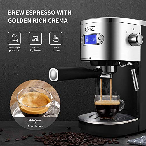 Espresso Machines 20 Bar Fast Heating Cappuccino Machine with Milk Frother for Espresso, Latte and Mocha, for Home Barista, 1.2 L Water Tank, Double Temperature Control System, Black, 1350W