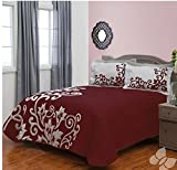 Baccara Red Wine Style Lightweight Bedspread Coverlet 3 Piece Queen