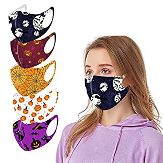 5PC Halloween Face Protection for Adults Reusable Washable Face Bandanas Masquerade with Elastic Strap Earloops Breathable Dustproof for Women and Men Office Daily Use