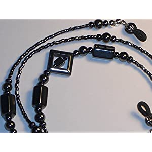 Hematite Square Design Beaded Eyeglass Chain Holder Necklace Fancy Ends NEW 28 inches