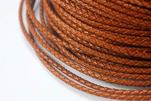 Laliva 1 Yard 3mm Round Brown Braided Real Leather Bolo Strap, 3mm Braid Leather Cord for Jewelry Making ()