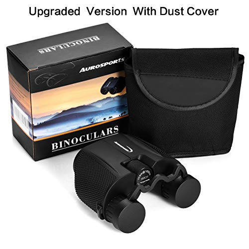 Aurosports 10x25 Folding High Powered Compact Binoculars for Adults With Weak Light Night Vision Clear Bird Watching Great for Outdoor Sports Games and Concerts