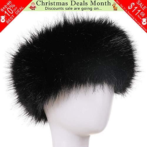 FAITH YN Faux Fur Headband with Elastic Stretch Women Fur Hat Winter Ear Warmer Earmuff Ski Cold Weather Caps [Black]