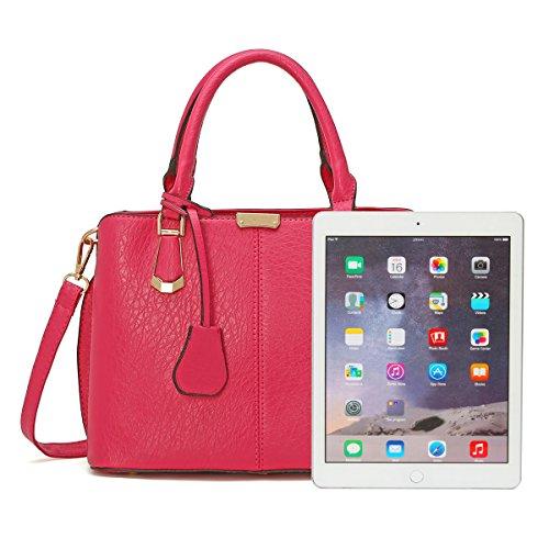 OURBAG Mujer Cuero Bolsos de mano Bolso superior de la manija de la manera para damas Rosa roja Rosa roja