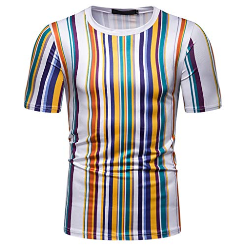 Tronet Men's tops Mens Summer t Shirts Short Sleeve,Personality Leisure Short Sleeve Stripe Painting Large Size Casual Top Blouse Shorts