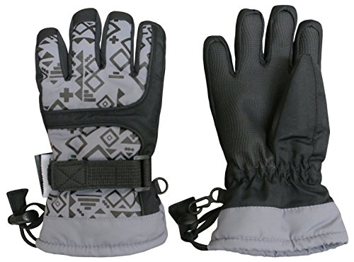 Nice Caps Kids Scroll Print Waterproof Thinsulate Insulated Winter Snow Gloves  8 10Yrs  Grey Print