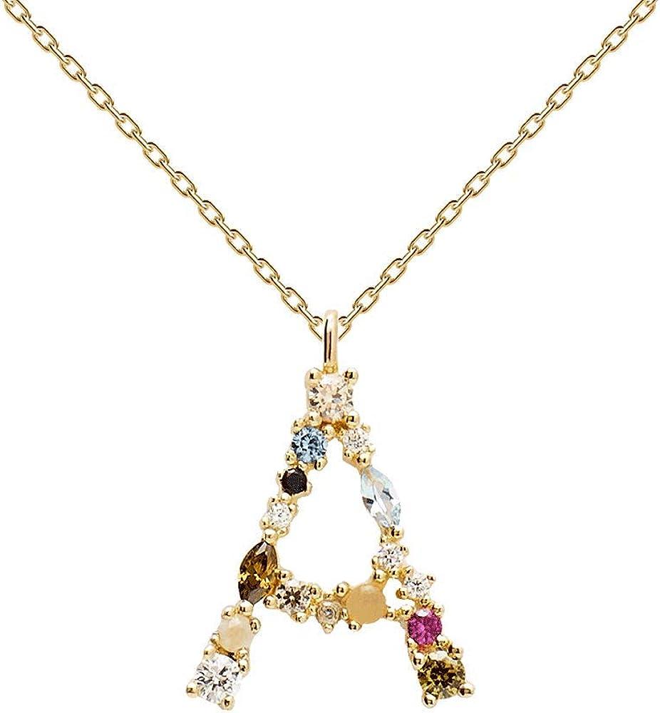 P D PAOLA - Collar Letra - Plata de Ley 925 bañada en Oro de 18k - Joyas para Mujer