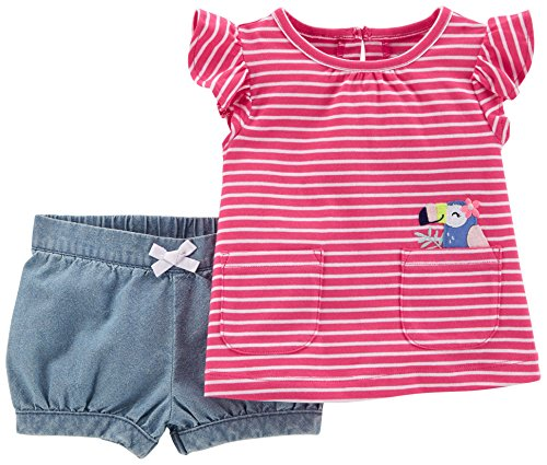 Carter's Baby Girls' 2-Piece Outfit - Pink/Multi, 12 Months (2 Piece Set Carters Outfit)
