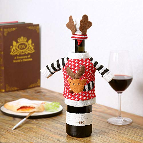 Wool Needlepoint Cover - Fange Christmastree Wine Bags Deer Sweater Set Bottle Cover for Xmas Party Dinner Table Oranent