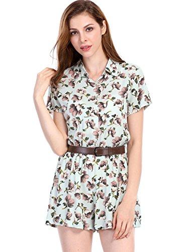 Allegra K Women's Half Placket Short Sleeves Floral Belted Romper XS (Floral Belted Romper)