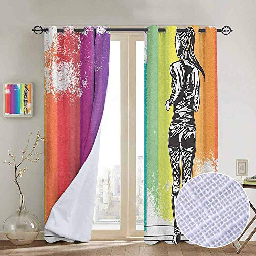 "NUOMANAN Pattern Curtains Olympics,Female Marathon Runner Illustration on Vertical Stripes in Rainbow Colors, Orange Purple Blue,Living Room and Bedroom Multicolor Printed Curtain Sets 52""x96"""