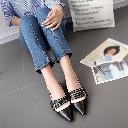Btrada Mocassini Moda Donna Scarpe - Scarpe A Punta Piatte Slip-on Con Fibbia Rivetto A Punta Nere