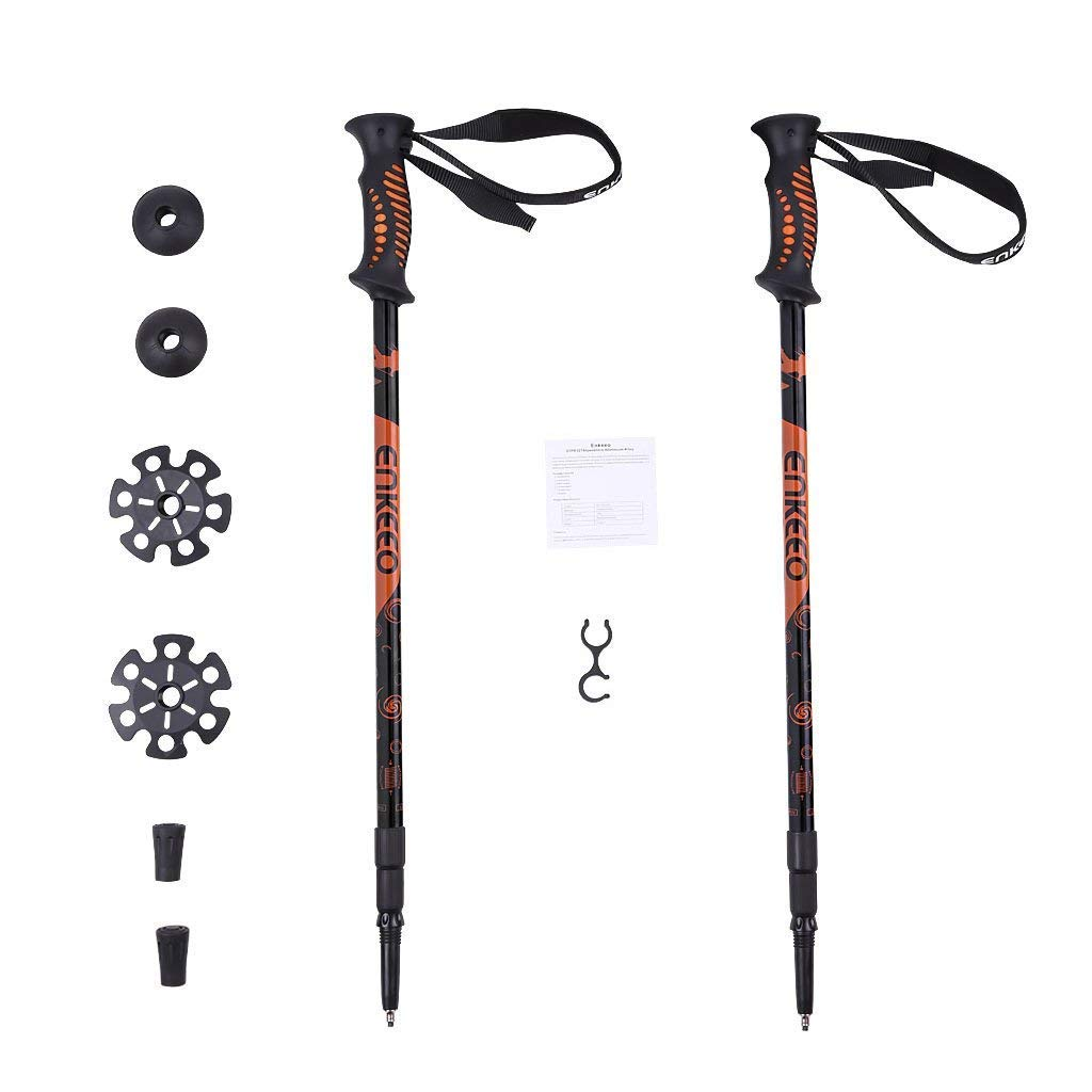 ENKEEO Trekking Poles Anti Shock Quick Lock Hiking Poles Ultralight Collapsible Trail Walking Stick with Durable Aluminum Black and Orange, 1 Pair 2 Pack