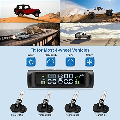 ZEEPIN TPMS Solar Power Universal, Wireless Tire Pressure Monitoring System with 4 DIY Sensors(0bar-5.0bar/0psi-73psi), Real-time Displays 4 Tires' Pressure and Temperature TPMS (Internal TPMS3) by ZEEPIN (Image #4)