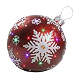 18'' LED Lighted Red Jeweled Commercial Grade Christmas Ball Ornament with Snowflake