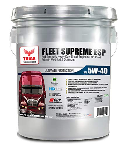Triax Fleet Supreme ESP 5W-40 - Full Synthetic - Friction Modified - CK-4 Heavy Duty Diesel Engine Oil - with CRP Moly Plating Technology. 80K Miles Drain Intervals, (5 GAL Pail)