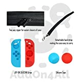 Nintendo Switch Case, Compact Playstand, Tempered Glass Screen Protector, Joy-Con Silicone Grips And Caps Red And Blue, 20 Games Storage Capacity.