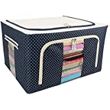 MeRaYo Living Box - Folding Storage Boxes for Clothes, Saree Cover, 55 Litre Capacity, (Dotted Blue Color)