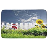 Rectangular Area Rug Mat Rug,Farm House Decor,Grass Foliage Field with Sunflowers Daisy Hedge Fence Yard Jardin,White Green Blue,Home Decor Mat with Non Slip Backing