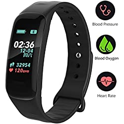 Activity Tracker HR Fitness Tracker - Watch with Blood Pressure Monitor, IP67 Waterproof Activity Tracker with Heart Rate Sleep Monitor Calorie Pedometer for Kids Men