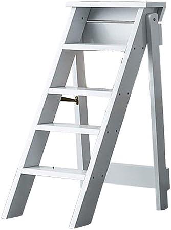 XITER Escaleras Plegables de Madera Taburetes, 5 peldaños, Escaleras portátiles con escaleras/escaleras Taburete multifunción Escalera Escalera (Color : White): Amazon.es: Hogar