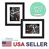 "The Display Guys ~ 2 sets of 8x10 inches Black Wooden Photo Frame, Tempered Glass, Luxury Made Affordable, with 1pc White Mat Board for 5""x7"" Picture"