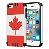 iPhone SE Case, Capsule-Case Hybrid Dual Layer Silm Defender Armor Combat Case (White & Black) Brush Texture Finishing for iPhone SE/iPhone 5s/iPhone 5 - (Canada Flag)