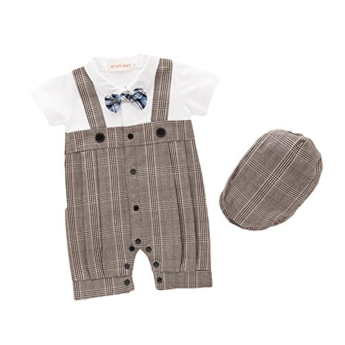 Tips for buying gifts for your Godchild: AvaCostume Baby Boys Checks One-piece Overall Jumpsuit with Hat, 12M