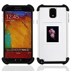 For Samsung Galaxy Note3 N9000 N9008V N9009 - floral poster grey black pink nature Dual Layer caso de Shell HUELGA Impacto pata de cabra con im????genes gr????ficas Steam - Funny Shop -