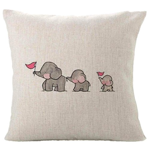 Pillow Cover, ღ Ninasill ღ Hot Sale ! Exclusive Three Baby Elephants Home Decor Cushion Cover Cute Animal Pillow Covers (Gray)