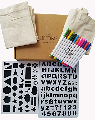 Lifetime Inc Tote-ally Fun DIY Tote Decorating Kit with 2 Canvas Bags, 12 Fabric Markers, and 2 Stencils