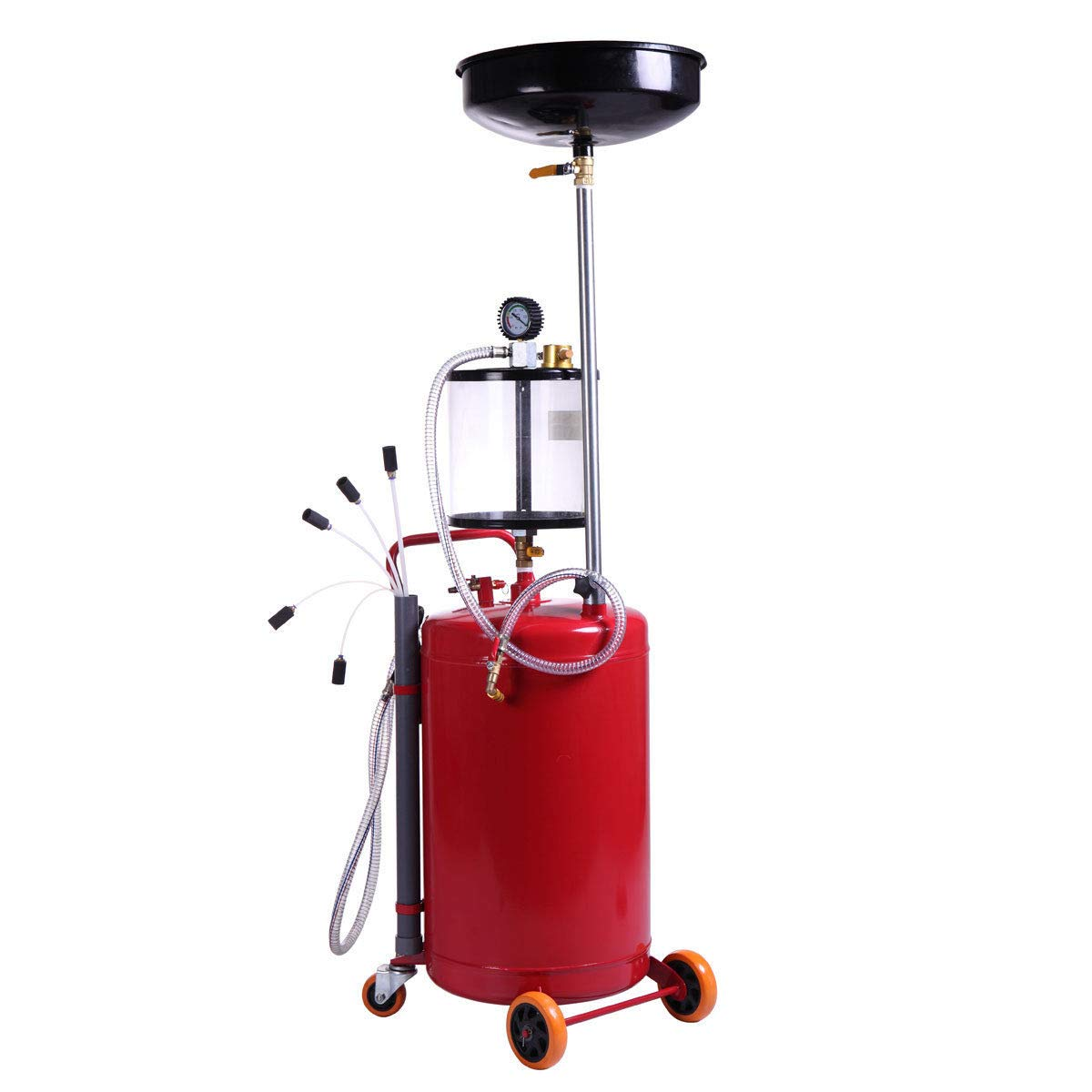 AVGDeals 20 Gallon Waste Oil Drain Tank Air Operate Drainer W/Wheel Hose Red Oil Change   High temperature resistant and corrosion resistant. by AVGDeals