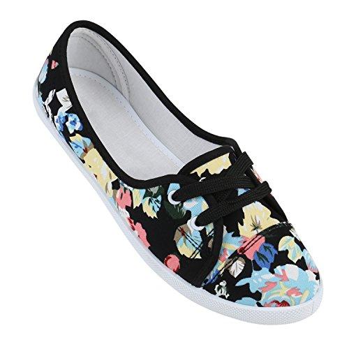 Sportliche Sneakers Damen Ballerinas Denim Stoffschuhe Schnürer Schuhe Halbschuhe Muster Lochung Flats Camouflage Spitze Flandell Schwarz Muster