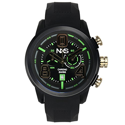 NXS Men's 'Pastrana' Swiss Ronda 5021.D Textured Silicone Watch(Model: 62625373)
