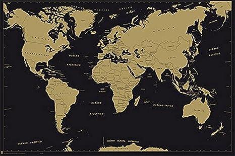 Grupo Erik Editores Poster Mapa Mundo Es Politico Metalizado - Deco: Amazon.es: Oficina y papelería