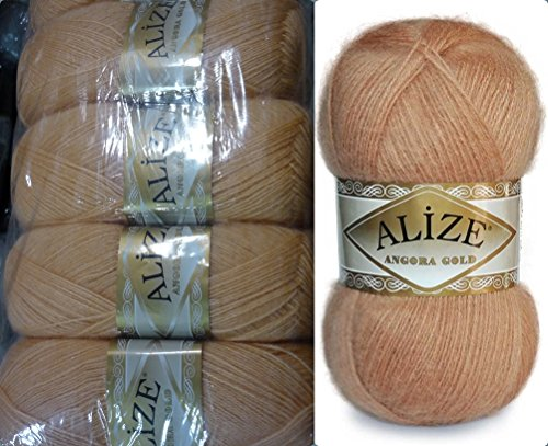 Mohair Wool Yarn Alize Angora Gold Thread Crochet Hand Knitting Turkish Yarn Lot of 4skn 400gr 2404yds Color 282 Peach - Gold Mohair Yarn