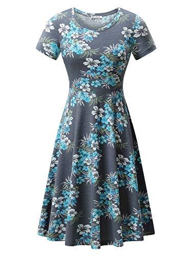 HUHOT Women T-Shirt Dress,Grey Floral Short Sleeve Casual A-Line Midi Swing T-Shirt Dresses 31 XL