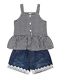 HenzWorld Kids Girls Outfit Sets Floral Tank Tops and Jeans Shorts Big Flower Clothes Yellow Vest Holiday Party