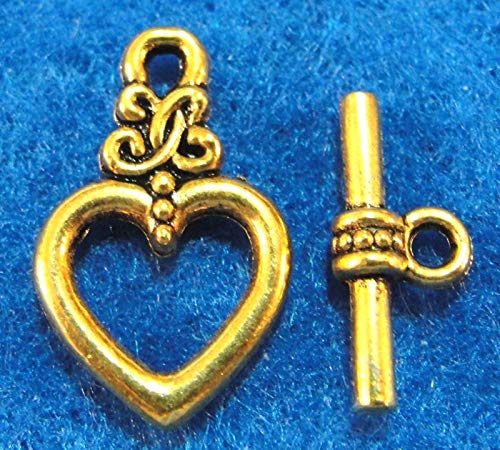 50Sets Wholesale Tibetan Antique Gold Heart Toggle Clasps Connectors Hook Q0715 Crafting Key Chain Bracelet Necklace Jewelry Accessories Pendants