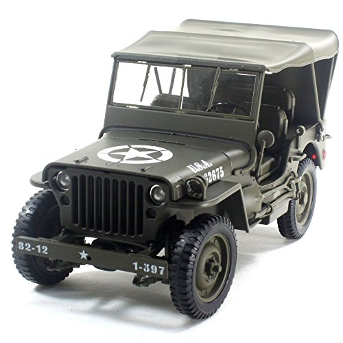 1:18 WWII U.S. ARMY 1/4 TON TRUCK WITH TOP UP DIECAST CAR 18036W-H 18036W-H BY WELLY