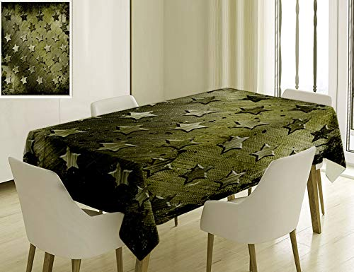 Unique Custom Cotton And Linen Blend Tablecloth 0 Grunge Military Grunge With Carving Art Style Star Patterns Marine Army Theme Industrial Deco OliveTablecovers For Rectangle Tables, 60 x 40 Inches]()